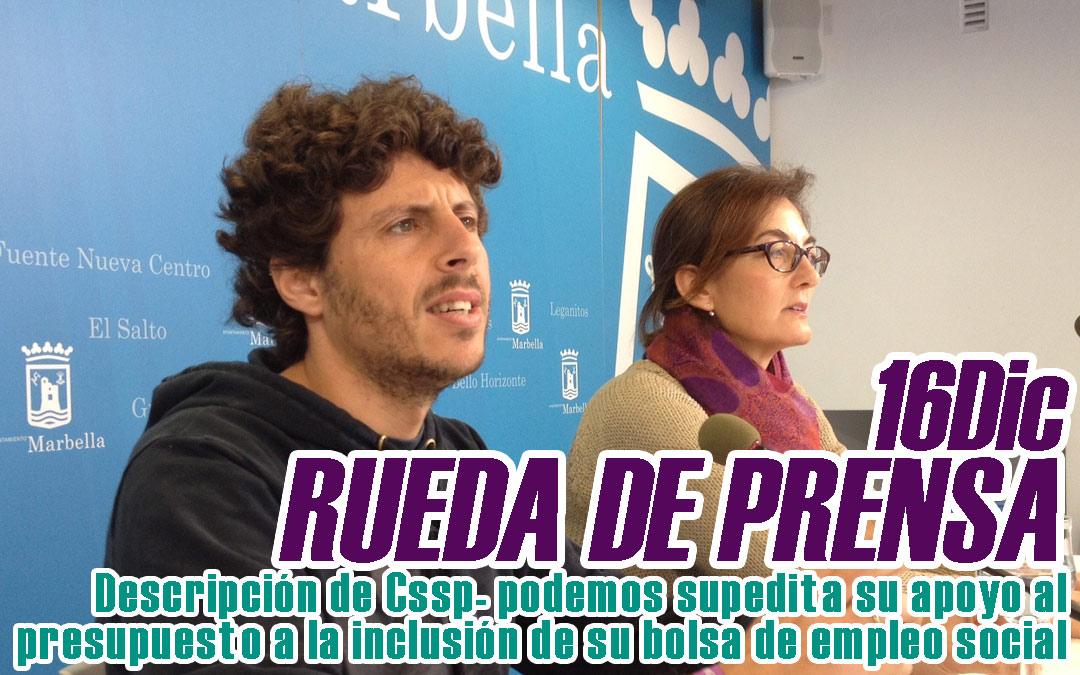Cssp – Podemos supedita su apoyo al presupuesto a la inclusión de su bolsa de empleo social