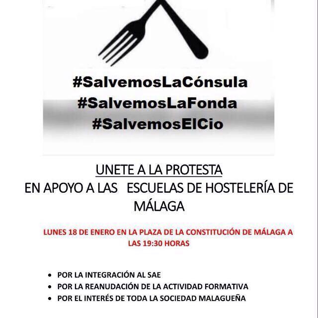 Protestas en apoyo a las escuelas de Hostelería de Málaga