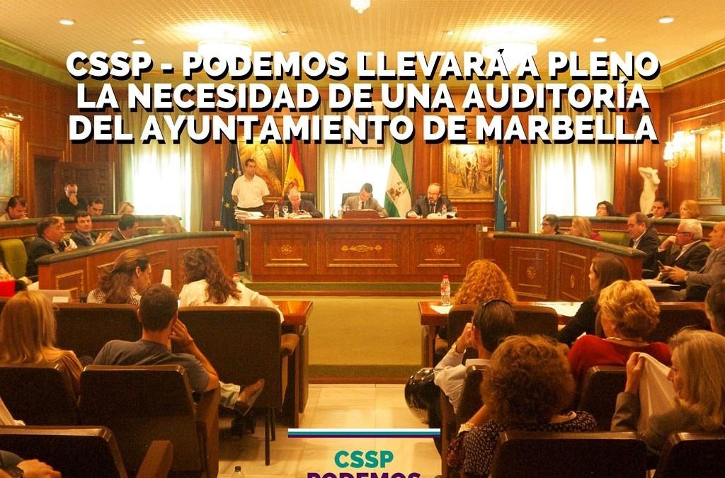 CSSP-Podemos llevará a pleno la necesidad de una auditoría para el ayuntamiento de Marbella