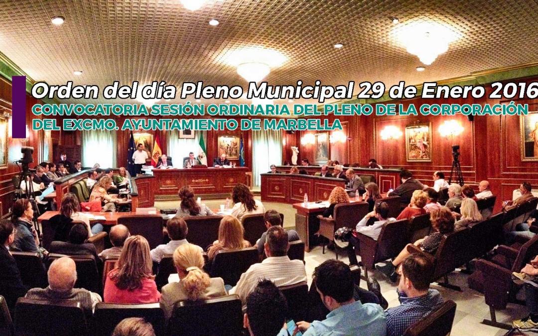 Orden del día Pleno Municipal 29 de Enero 2016
