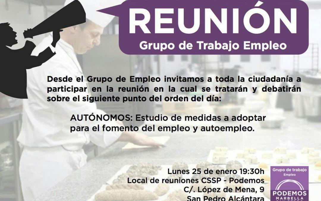 Reunión Grupo de Trabajo de Empleo y Emprendimiento  Lunes 25 de  enero