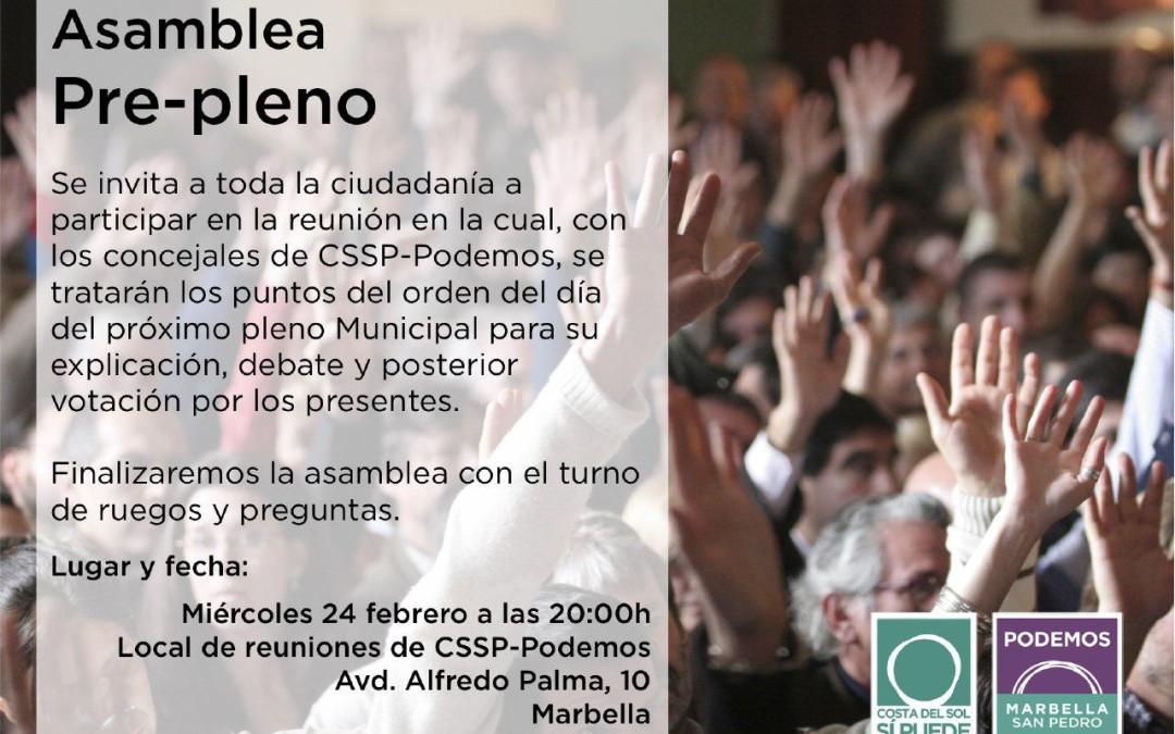 Asamblea Pre-pleno  Miércoles 24  de Febrero de  2016