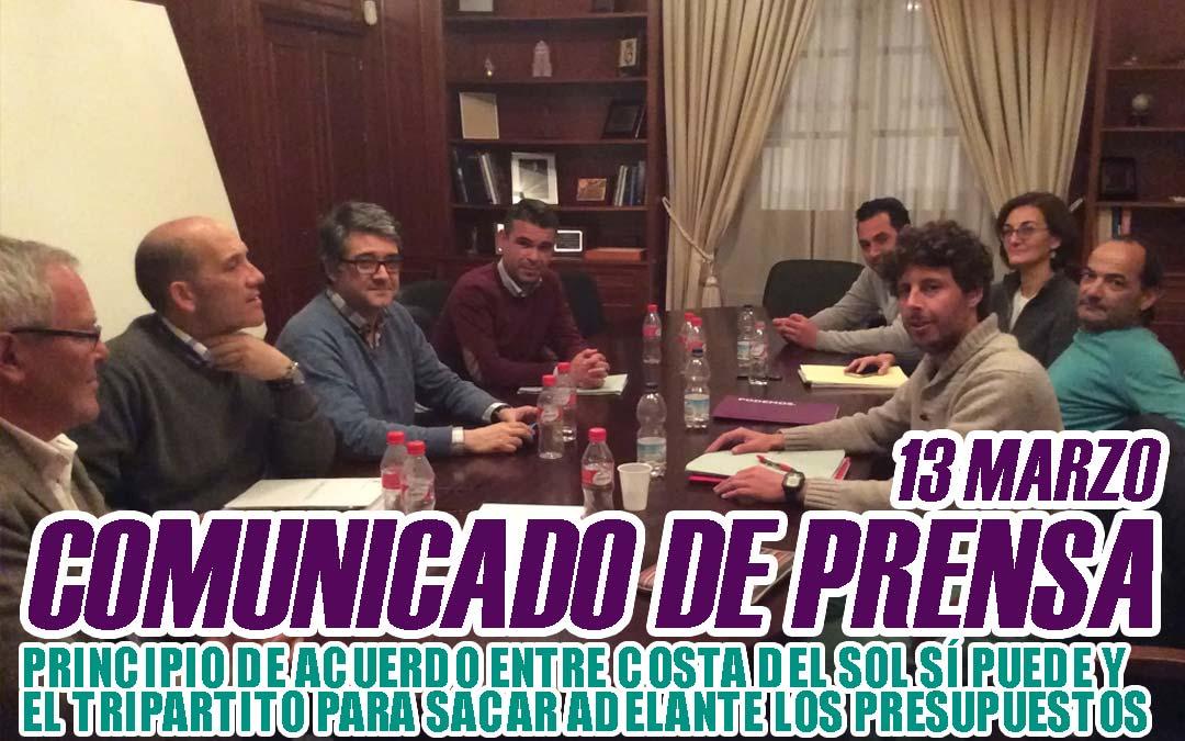 PRINCIPIO DE ACUERDO ENTRE CSSP-PODEMOS Y  EL TRIPARTITO PARA SACAR ADELANTE LOS  PRESUPUESTOS