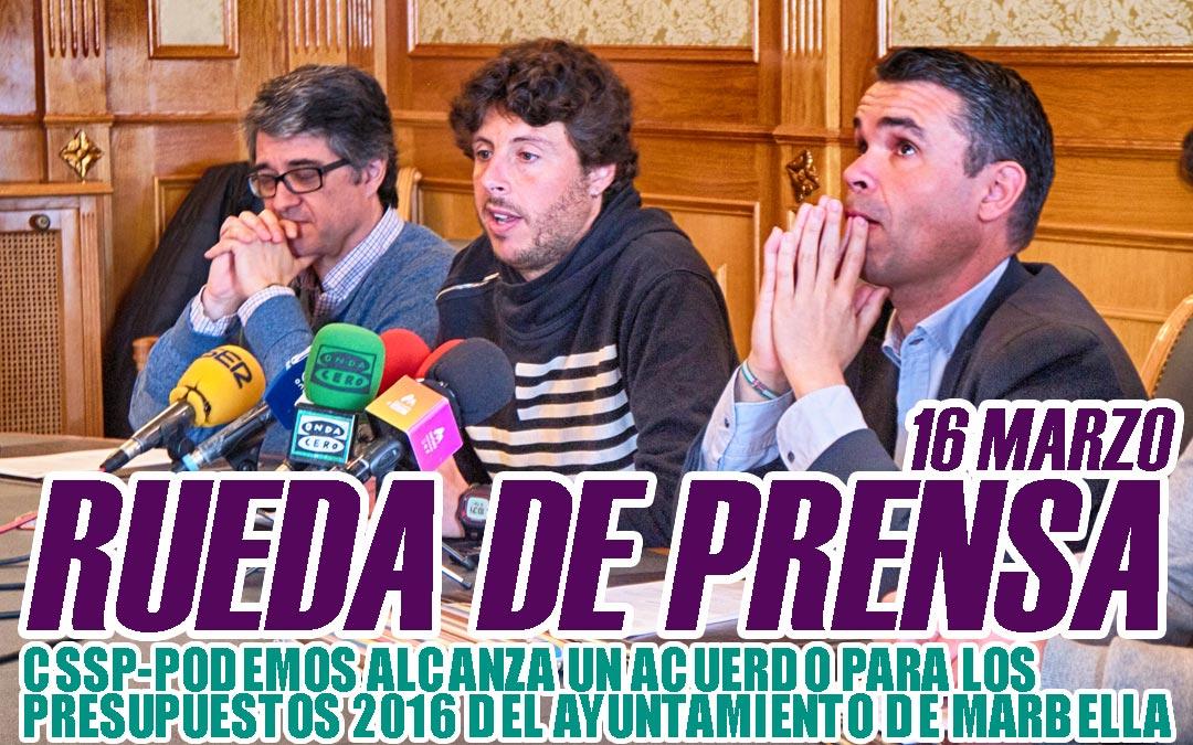 CSSP-PODEMOS consigue el acuerdo de los Presupuestos 2016 del Ayuntamiento de Marbella
