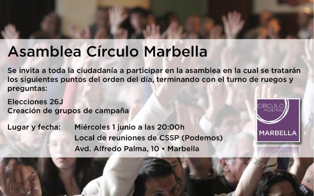 Asamblea Círculo Podemos Marbella  01 de Junio 2016