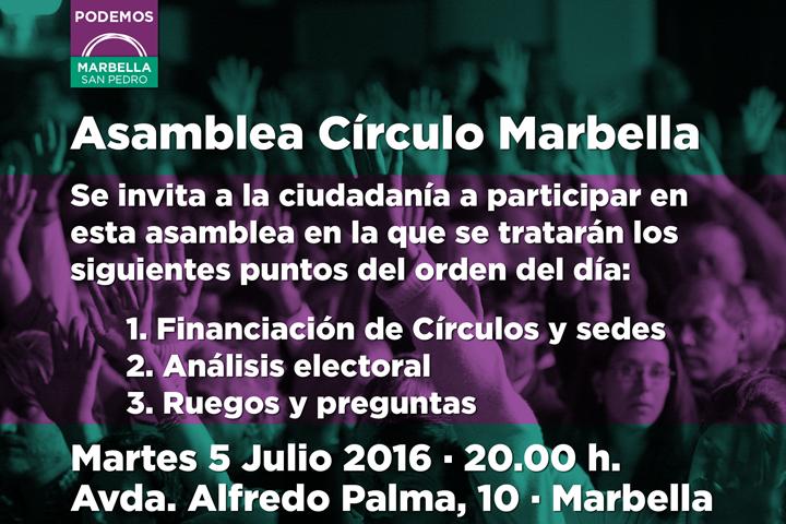 Asamblea Círculos Podemos Marbella San Pedro 5 de Julio 2016