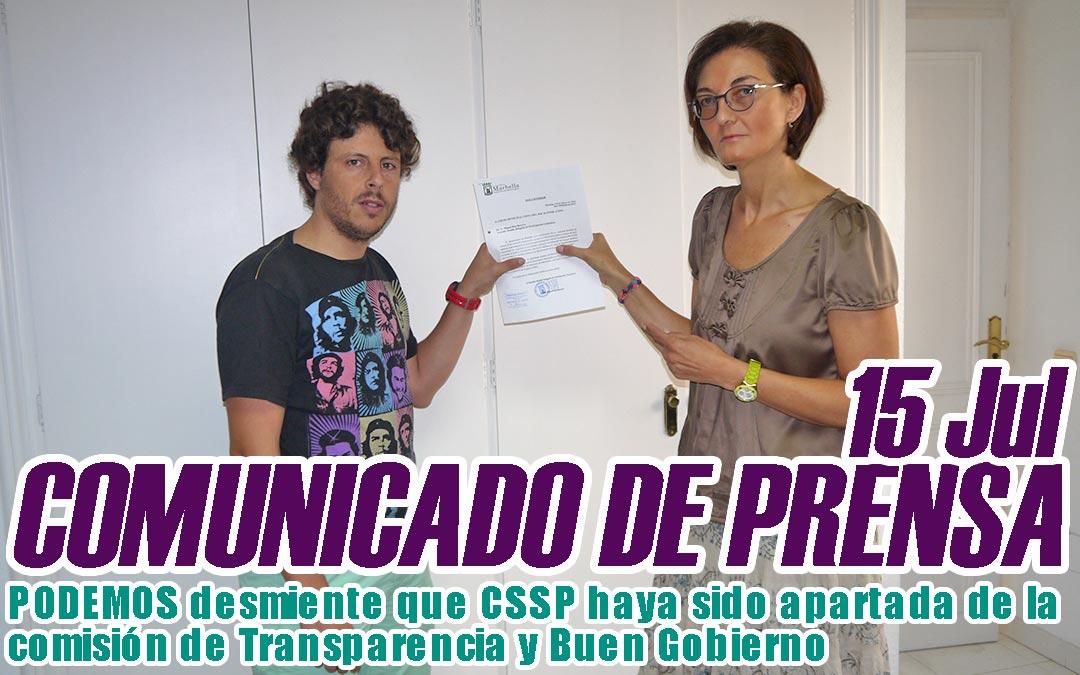 PODEMOS desmiente que CSSP haya sido apartada de la comisión de Transparencia y Buen Gobierno.