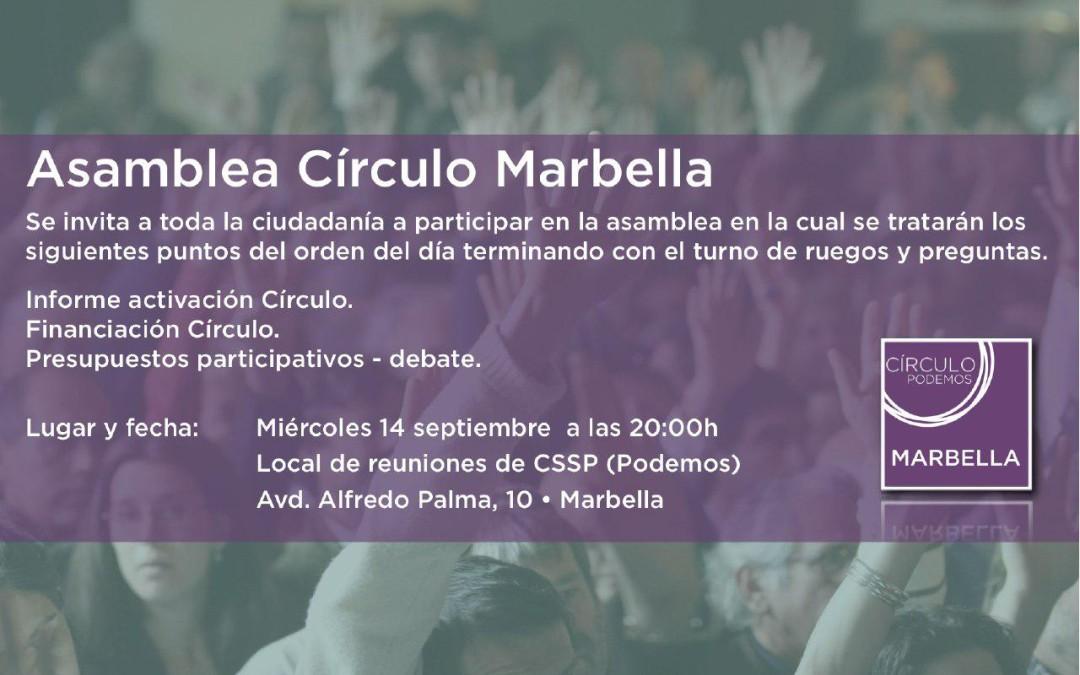Asamblea Círculo Podemos Marbella día 14 de Septiembre  2016