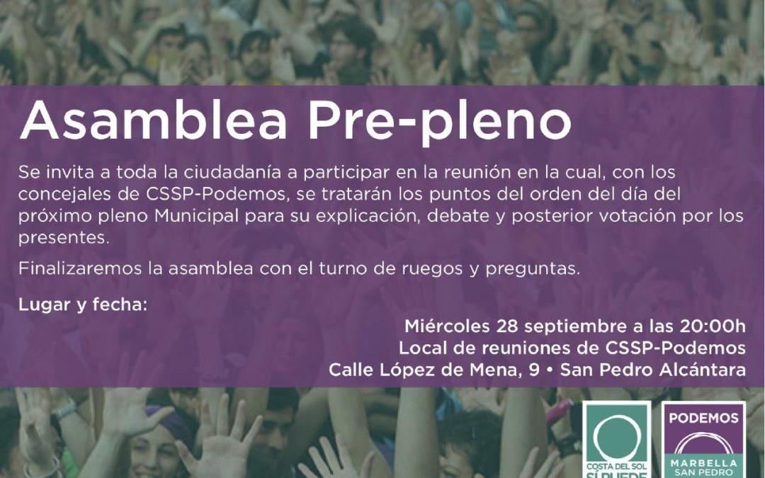 Asamblea pre-pleno miércoles día 28 de Septiembre de 2016