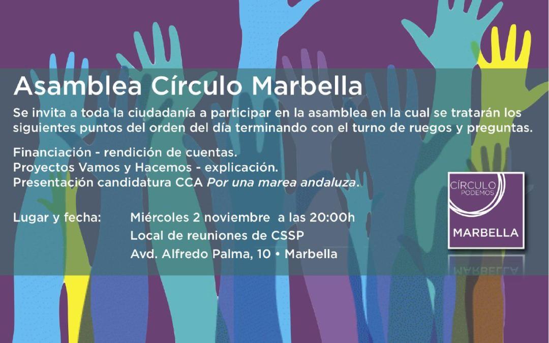 Asamblea Círculo Podemos Marbella día 2 de Noviembre  2016