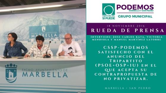 CSSP-PODEMOS moderadamente satisfecho con el anuncio del Tripartito (PSOE+OSP+IU) en el que acepta su contrapropuesta de no privatizar.