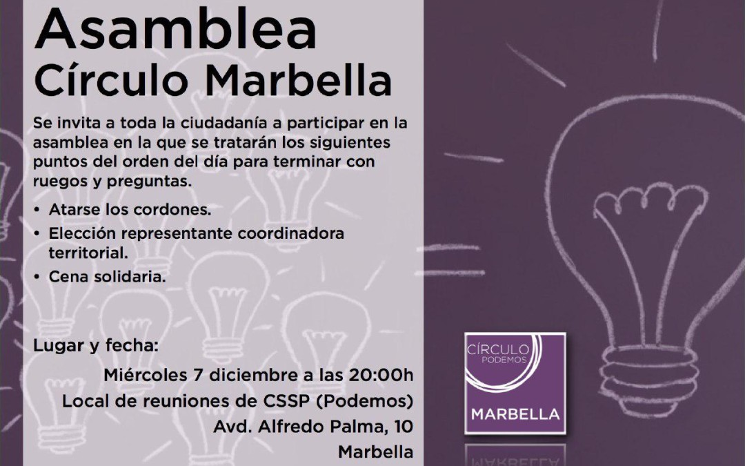 Asamblea Círculo Podemos Marbella Miércoles 7 de Diciembre