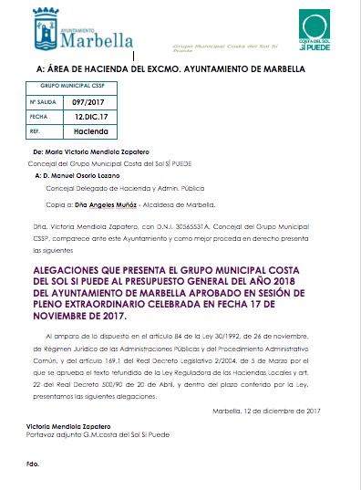 Enmienda a la totalidad del presupuesto 2018 en Marbella